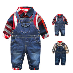 İlkbahar Sonbahar Bebek Boys Centilmen Stil Giyim Bebek Boys Ekose Gömlek + Denim Suspender pantolonları 2adet Seti Bebek Suit Çocuklar Kıyafetler ayarlar