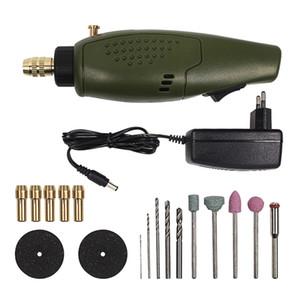 Nuevo Mini Accesorios de perforación eléctrica Establecer herramienta de amoladora DC 12V DC para la perforación de grabado de pulido de fresado (enchufe de la UE)