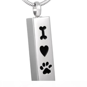 "KLH8001 Newest Dog Paw Cube Cremation Jewelry Ashes Keepsake Memorial ""Bone Heart Paw"" Pet Urn Necklace for ashes(Dog Cat)"