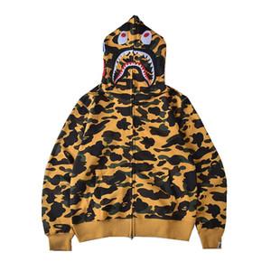 Bape Mens стилиста высокого качества Zipper Толстовки Мужчины Женщины моды с длинным рукавом Zip Hooded Jacket Mens Shark Tooth печати Bape куртку