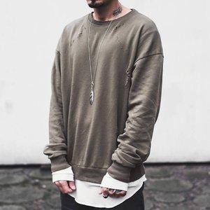 Hoodies Holes Tasarımcı Moda Katı Sokak Renk Kazak Ekip Boyun Uzun Erkek Boy Tişörtü Erkek Kollu Streetwear Jjxia