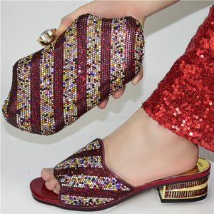 Nigerian Ladies Matching Shoe and Bag Pu Leather Italian Wine Red Color Shoes and Bags Set for Party Women Shoe and Bag To Match