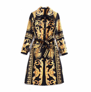 European and American women's 2019 winter clothing new Long sleeve Fine button vintage print Trench coat
