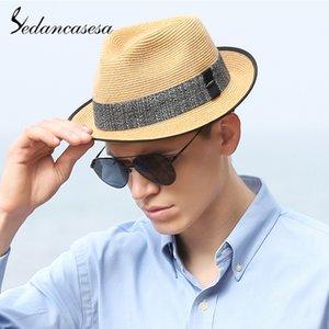 Sedancasesa Sıcak Satış Erkekler için güneş Şapkalar Sombreros Yaz Siperlik Karşıtı UV Chapéu Açık Sea Beach Straw Mens Hat Caps
