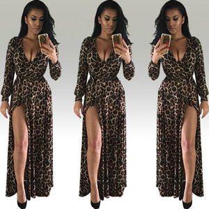 Feitong Leopard Print for Woman Dress New Summer Fashion V-Neck Long Dress Sexy Nightclub High solid Split Maxi Womens Dresses Evening Party