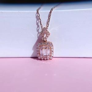 AEAW 18 Karat Weißgold 0.26ct natürlichen Diamanten Radiant Schnitt Halsketten-Anhänger Diamanten-Halskette Frau Schmuck