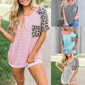 Leopard нашивка женщин футболка дизайнер карман одежда Лето Весна Одежда женская Топы футболка Crew Neck лоскутного тройник панели FFA3758