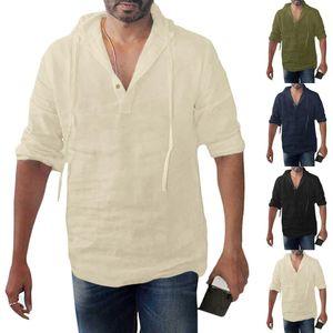 Мужская футболка Багги хлопок белье Твердые кнопки Плюс Размер с длинным рукавом с капюшоном Топы мужские рубашки Мужчины Одежда Камиза Masc