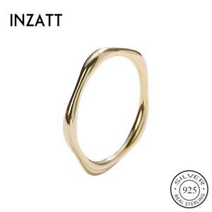 INZATT Real 925 Sterling Argent Minimaliste Polygon Anneau Pour La Mode Femmes Partie Fine Bijoux Accessoires Géométriques 2019 Cadeau