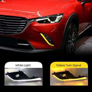 2PCS carro DRL LED diurnas Luz Para Mazda CX3 CX3 2015 2016 2017 2018 2019 2020 com virar amarelo Sinal Função