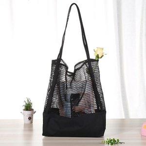 New Fashion Pattern Korean Grid Handbag Mesh Hollow Out Sandy Beach Package Canvas Single Shoulder Woman Bag
