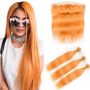 Оранжевый цвет Straight Плетение Human Пучки волос с фронтального бразильских виргинских волос Pure Orange переплетений Extensions с фронтальным Lace Closure