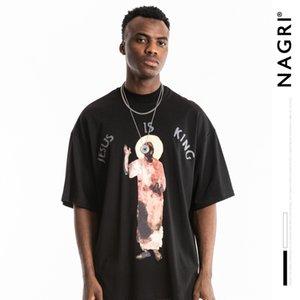Нагри Европа и Америка популярный бренд мужская одежда большой Говорун ретро стиральная свободная посадка Чикаго квалифицированный Иисус с коротким рукавом мужская