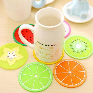 Cup Mat Pads Werbeartikel Cute Fruit Pattern Bunte Silikon Runde Cup Cushion Holder Dickes Getränk Geschirr Coaster Mug BH0480