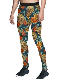 Skull Flower Head Halloween Rose Pants Men Leggings Moisture-Wicking Fashion Party High Waisted Stretch Fit Compression Wearabil