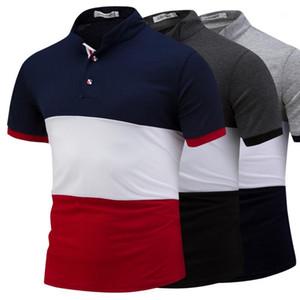 T-shirts Summer manga curta O pescoço dos homens Tees Casual Striped Impresso Masculino Tops Patchwork Mens Cor