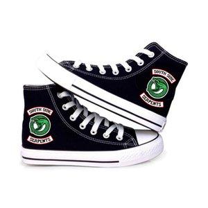 Kadınlar Erkekler Riverdale Güney Yan Serpents Baskılı Yüksek Tuval Ayakkabı Casual Boş Ayakkabı