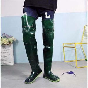 Venta-caliente por las botas de agua largas con pantalones impermeables y botas de lluvia largos para la pesca y el trasplante