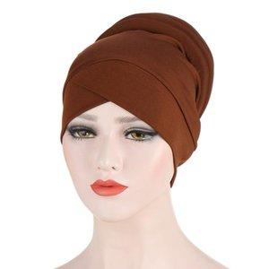 Women Silky Cross Cotton Silky Sponge Turban Hat Cancer Chemo Beanies Cap Headwear Wrap Plated Hair Accessories