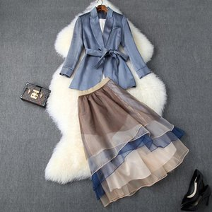 2019 Fall Autumn Long Sleeve Notched-Lapel Pure Waist Belt Blazers + Contrast Panelled Mid-Calf Skirt Two Piece 2 Pieces Set S1510T10155