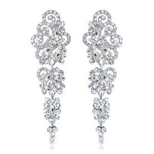 Neue Braut Ohrringe mit Kristallen Strass Wassertropfen Ohrring Brautschmuck Erkenntnisse Hochzeit Zubehör Für Bräute BW-042