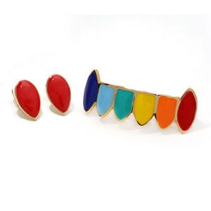 Стиляги Hip Hop Зубы Грилей Красочного Яркого Grillz Miss Jewelry Оптовых Дешевые Красочные Стоматологические золотые зубы Grillz