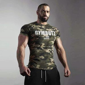 2019 gym new Fashion Summer New Sports Camouflage Short Sleeve T-shirt Men's Fast Driving Fitness Training Clothes gym T-shirt