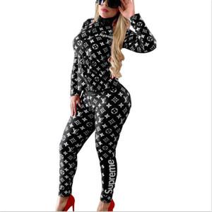 Женщины дизайнера костюм 2 шт набора сетки облицован топ растениеводство + брюки осень зима вскользь потовых костюмов с длинным рукавом лоскутной рубашки + лосины F1511