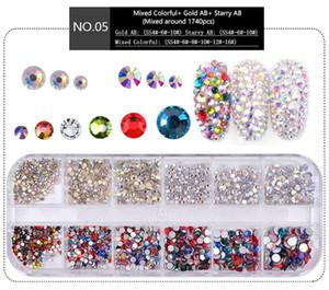 NA053 1 Kutu Çok Boyutlu Kristal Çivi Süslemeleri Akrilik Yuvarlak Renkli Pırıltılar Rhinestones DIY Nail Art Accessoires