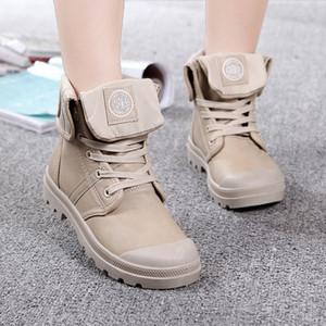 공장 직접 판매 새로운 PU 하이 엔드 커플 신발 마틴 부츠 방수 가죽 신발 군사 남성과 여성 조수 신발 두꺼운 밑창