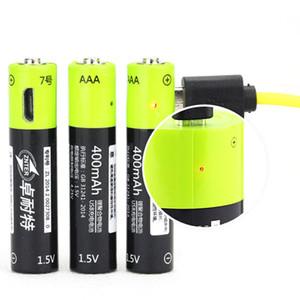 Lo nuevo cable ZNTER AAA 1.5V 400mAh batería recargable de polímero de litio recargable USB universal de la batería Batería con micro USB