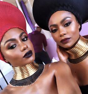 Liffly Afrikanische Halskette Frauen Goldfarben-Leder-Kragen-Halskette afrikanischer Schmucksache-justierbares Big-Halskette Schmuck