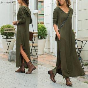 New Fashion Hooded Long Dresses Casual Long Sleeved Pocket Maxi Dress Lounge Wear Autumn Split Vestidos Robes Femininas Sj1134u
