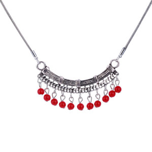 Vintage Clavicle Necklace  Silver Plated Chain Coral Necklaces Women Statement Short Necklaces & Pendants Summer Jewelry