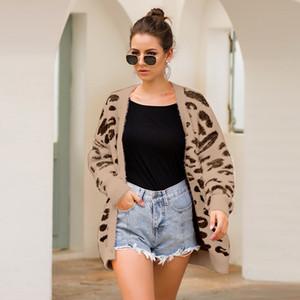Womens Leopard Print longas Cardigan Outono Inverno V Neck mangas compridas camisolas Jacket 2019 para senhoras