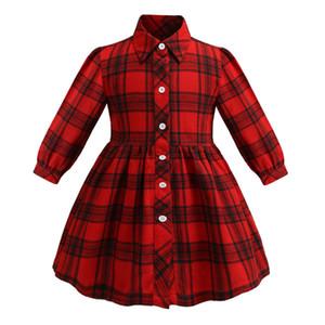 2019 neue Kinder plaid kleid mädchen revers langarm-shirt kleid kinder kleidung kinder rot einreiher lässig gitter kleid A01435