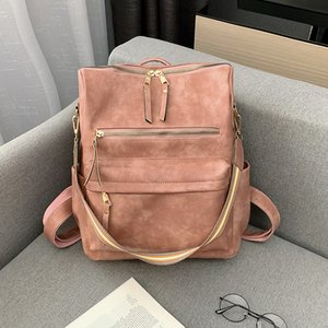 2020 New American Leisure Style Fashion Pure Color Women Shoulders Bag Luxury Leather Travel Mommy Backpack