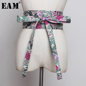 [EAM] Bow Bandage Print Mixed Color long Wide Belt Personality Women New Fashion Tide All-match Spring Autumn 2020 1B369