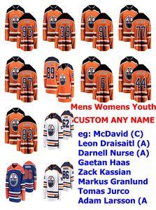 Edmonton Oilers Jersey Femmes Connor McDavid Jersey Leon Draisaitl Darnell Nurse Gaetan Haas Zack Kassian Hockey Maillots personnalisé Cousu