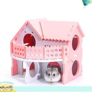 Ecologique Cute Hamster House Cages pour Souris Rat Drôle Hamster Nest Net Écologique Double-Pont Ladder Villa Maison De Lit Coloré D19011201