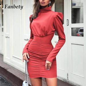 mulheres Fanbety outono plissado Hip pacote vestido de Lady Puff mangas compridas Bodycon Mini vestido de festa gola Casual Elegante