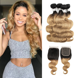 Ombre Hair Bundles With Closure 1B 27 Honey Blonde Brazilian Body Wave Hair 4 Bundles With 4x4 Lace Closure Remy Human Hair Extensions