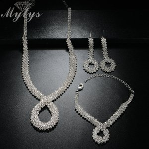 wholesale Bridal Crystal Jewelry Sets Silver Color Rhinestone Wedding Engagement Jewelry Sets for Women CN331