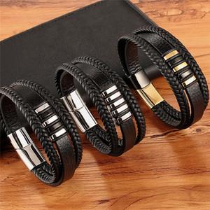 Nueva 3 capas Negro Oro Diseño punky de cuero genuino del estilo de la pulsera de las pulseras masculinas regalo de los hombres de acero botón magnético de cumpleaños