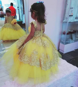 Yellow Lace Beaded Flower Girl Dresses Ball Gown Sheer Neck Little Girl Dresses Communion Pageant Gowns