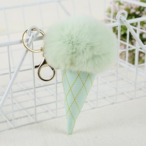 Cadeia Bola Ice Cream Pompom Keychain PU Carabiner chave Titular Chaveiro Mulher Kids Key Bag Pingente chave RRA2898 Favor Anel