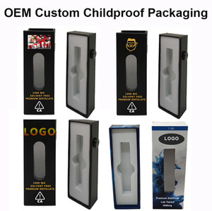 Logo personalizzato Childproof Scatole per imballaggio con Vista Finestra Pre rullo di vetro Tubi Vape Cartucce Siringhe Blister Box vaporizzatore pacchetto OEM
