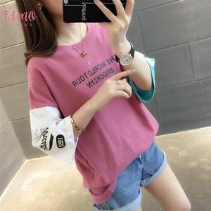 Корейский Ulzzang Топы футболка для женщин лето Harajuku Письмо Строчка Половина рукавом футболки Школьница опрятный стиль одежды