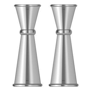 HOT 2Pcs Double Cocktail Jigger , Jigger Set Stainless Steel Bar Measuring Jigger 1 & 2 Oz, Silver