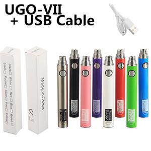 UGO V II 3 650 900 mh EVOD eGo 510 Batería Micro USB Passthrough Carga con cable USB Vaporizadores Ecigs Baterías de Vape abierto